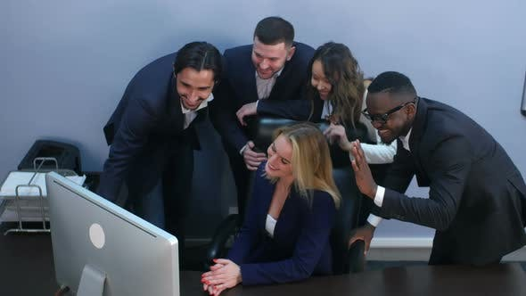 Thumbnail for Group of Multiracial Business People Looking at a Screen