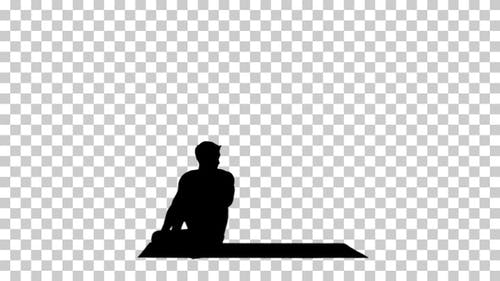 Silhouette  man practicing , Alpha Channel