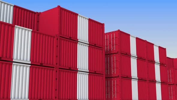 Containers with Flag of Peru