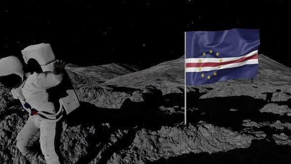 Astronaut Planting Cabo Verde Flag on the Moon