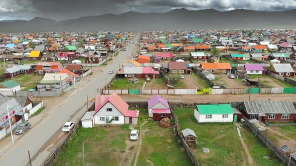 Aerial View of City Landscape of Colorful Houses in Mongolia