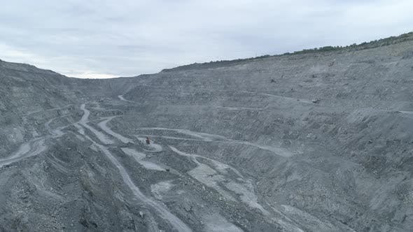Aerial View of Huge Asbestos Quarry in The Asbest City