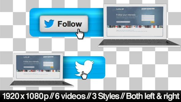 Cover Image for Twitter Follow Lower 3rd Bug - 3 Styles + Alpha