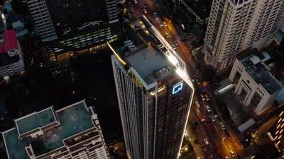 Siam and Rachathewi Districts Aerial Views Rooftop Bar in Bangkok Thailand