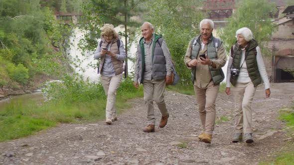 Group of Elderly People Hiking