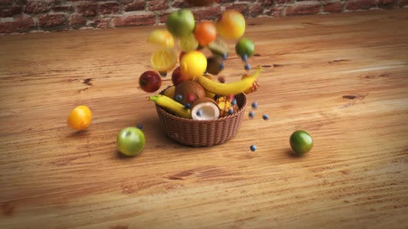 Thumbnail for Fruits falling into a basket