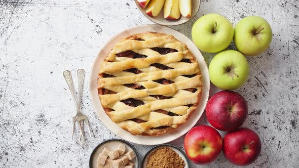 Cover Image for Delicious Apple Pie Cake with a Fresh Fruits, Brown and Powder Sugar