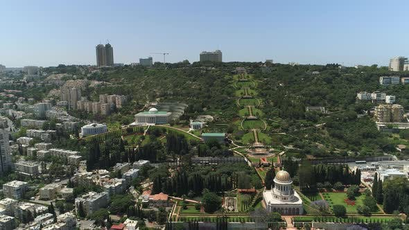 Aerial view of Baha'i Gardens and buildings