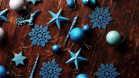 Thumbnail for Blue Christmas Decorations on Table