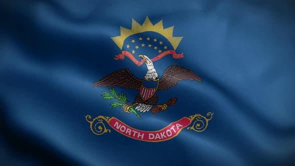 North Dakota State Flag Blowing In Wind
