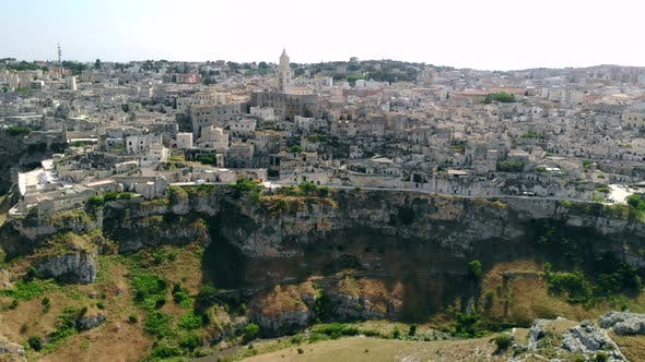 Thumbnail for Aerial View of Ancient Town of Matera Circling Around City, Italy