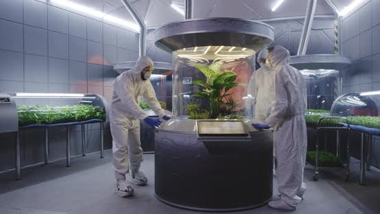 Thumbnail for Scientists in Hazmat Suit Checking Plant Incubators