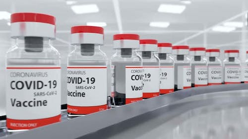 Coronavirus Sars Vaccine and Covid-19 Vaccination Concept on Production Line