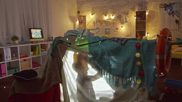 Thumbnail for Kids Playing in Handmade Play Tent