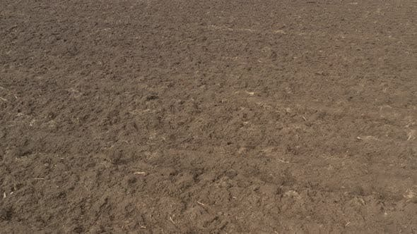 Thumbnail for Furrows made in the fertile soil 4K drone footage