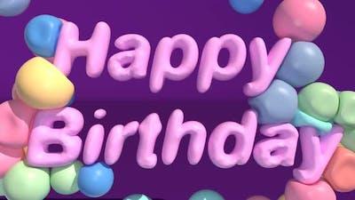 Happy Birthday Text Soft Body Color Spheres