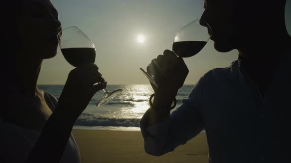 Thumbnail for Couple Drinking Red Wine on Beach