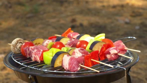Thumbnail for Assorted Meat From Chicken, Pork and Various Vegetables for Barbecue on Grill