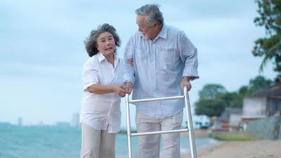 Couple senior on the beach