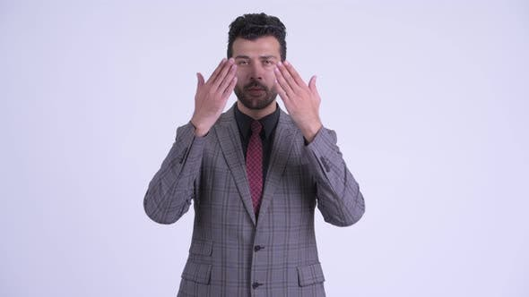 Thumbnail for Handsome Bearded Persian Businessman Doing See No Evil Concept
