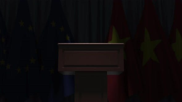 Flags of Vietnam and the EU at International Meeting