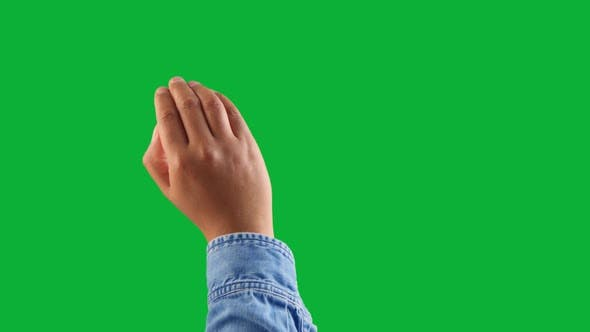 Thumbnail for Mixed Race Deep Skin Tone Male Hand Makes a Swipe To the Right Using All Hand Gesture on Chromakey