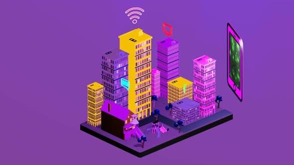 City isometrics using internet data as a link