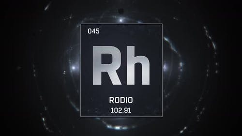 Rhodium as Element 45 of the Periodic Table on Silver Background in Spanish Language