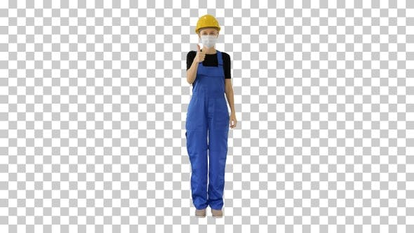Thumbnail for Female construction worker putting on medical mask, Alpha Channel