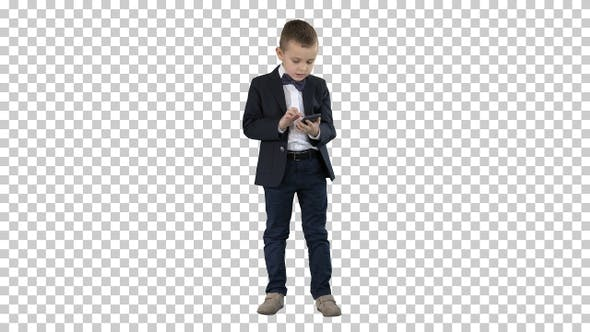 Intelligent boy is texting message playing, Alpha Channel