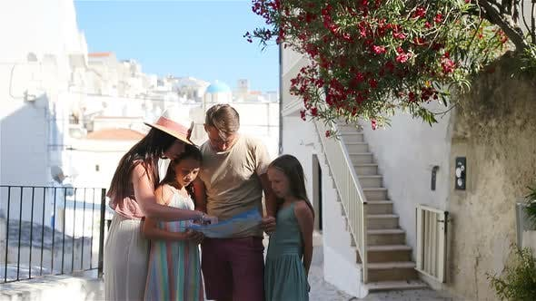 Family of Four on Vacation in Europe.