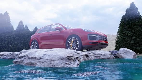Thumbnail for Red Luxury Off-Road Vehicle Standing on Rocks in the Daytime