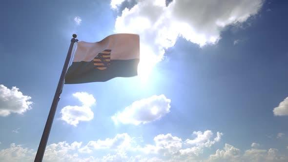 Thumbnail for Saxony Flag with Emblem on a Flagpole V4