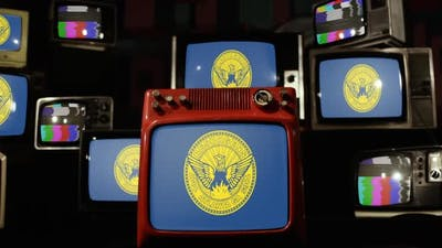 Flag of Atlanta, Georgia, and Retro TVs.