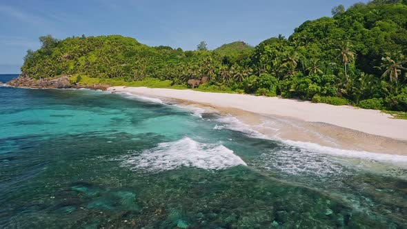Thumbnail for Mahe Island, Seychelles. Aerial View of Tropical Beach, Ocean Rolling Waves and White Sand Beach