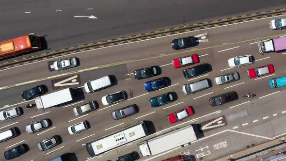 Thumbnail for Top view of traffic jam
