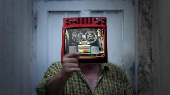 Vintage Reel-to-reel Recorder Man.