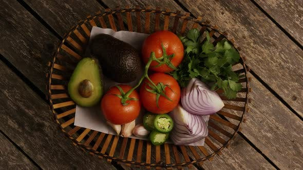 Thumbnail for Rotating shot of beautiful, fresh vegetables on a wooden surface