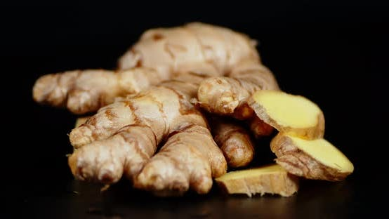 Fresh Ginger Root Rotates Slowly