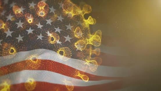 USA Flag With Corona Virus Bacteria