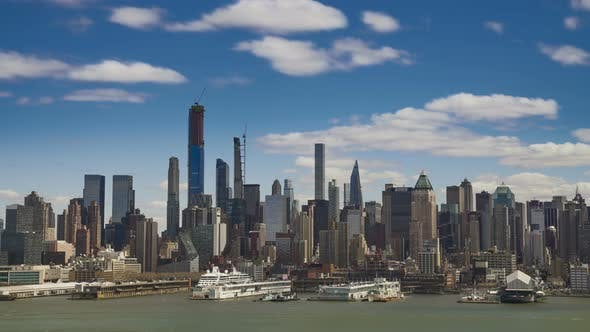 Thumbnail for New York City Uptown Skyline with Clouds