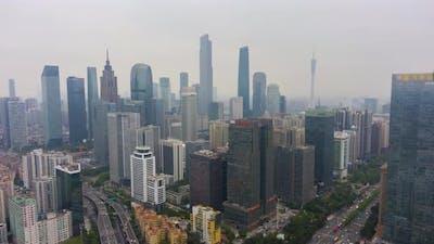 Guangzhou City and Smog. Guangdong, China. Aerial View