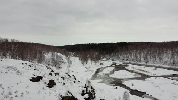 Winter Snow Forest in the Mountains Winter River Before the Onset of Spring