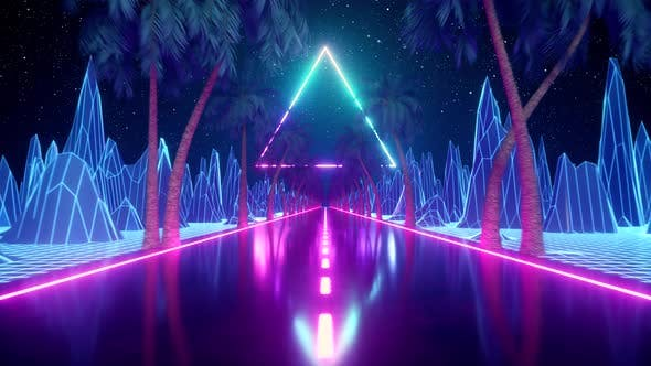 Thumbnail for 80's Abstract Retro Futuristic Background