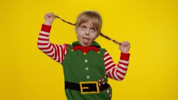 Kid Girl Christmas Elf Santa Helper Costume Dancing Fooling Around