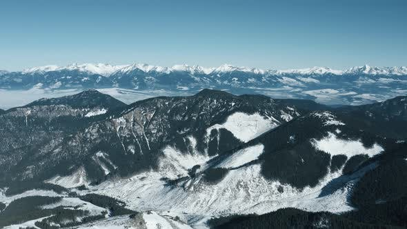 Thumbnail for Aerial View of the Snowy High Tatras Mountains in Clear Weather. Slovakia, Chopok
