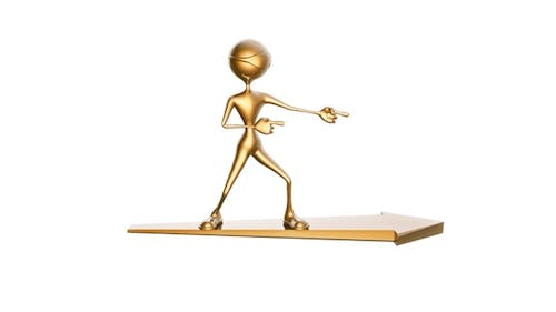 Gold Man 3D Character on Arrow Pointer