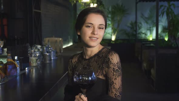 Thumbnail for Attractive Young Woman Sitting at the Bar Smiling To the Camera with a Glass of Wine in Her Hand