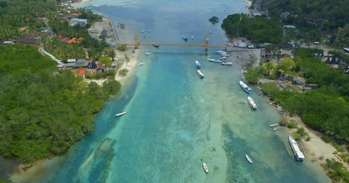 Aerial View of the Yellow Bridge Connecting Nusa Lembongan and Cennigan Islands