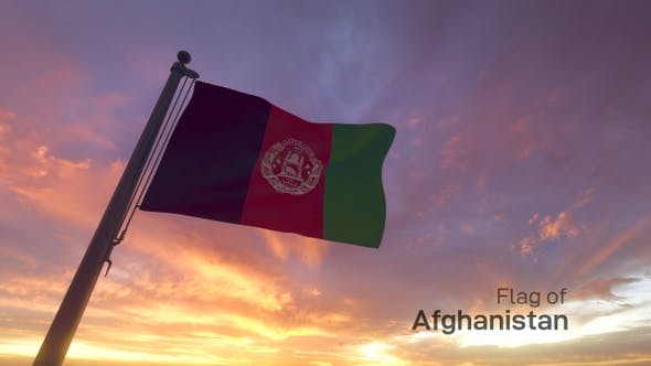 Afghanistan Flag on a Flagpole V3